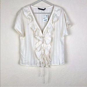 [Zara Basic] NWT Ivory Striped Ruffle Lace Up Top